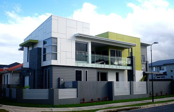 A modern two storey home that makes use of scyon linea for Modern weatherboard home designs