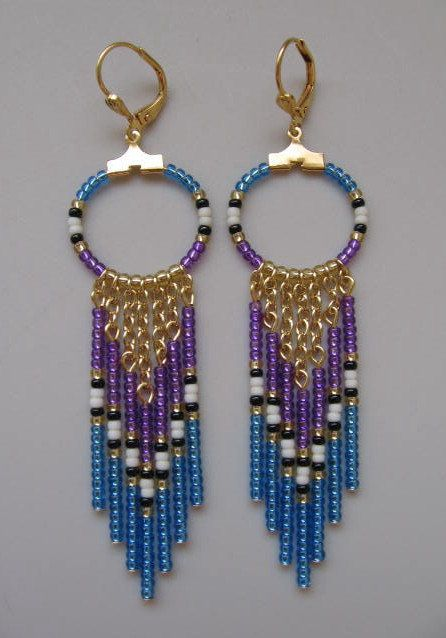 SALE - Seed Bead Hoop Chain Earrings - Purple/Light Sapphire Blue