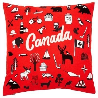 "From far and wide, Oh Canada there's a lot to celebrate. Our graphic pillow cover pops with patriotic embroidery that celebrates just a few of the things that make living in Canada so great. It reverses to a solid back and is finished with a concealed zipper for easy care. Insert not included. 20"" x 20"". 100% cotton. Machine-wash cold. Tumble-dry low. Warm iron if needed. Available only at Indigo."