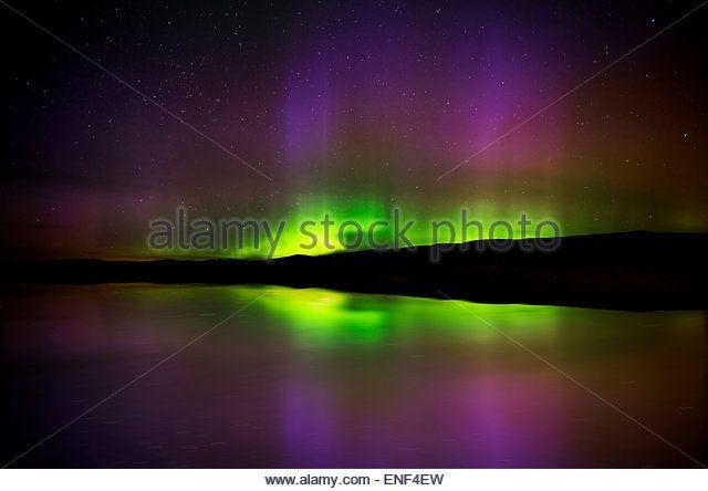 Aurora Borealis Northern Lights Saskatchewan Lake - Stock Image