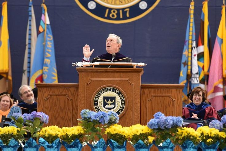 Former New York City Mayor Michael Bloomberg gave the commencement address at the University of Michigan on Saturday.