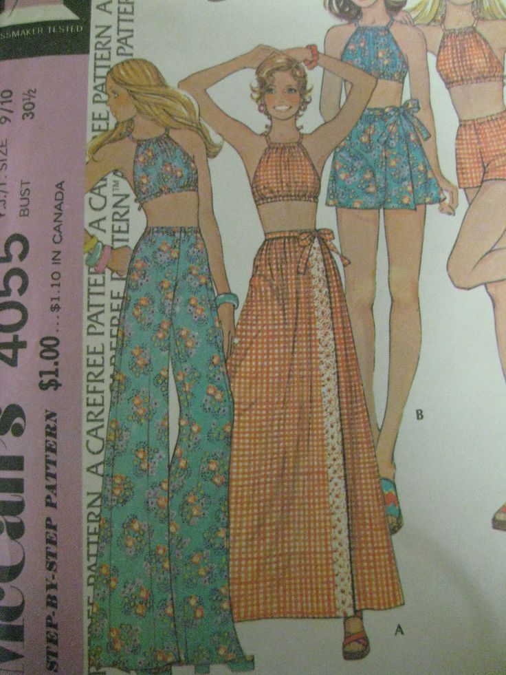 Vintage 70's McCalls 4055 DRAWSTRING HALTER TOP WRAP SKIRT Sewing Pattern Women | eBay