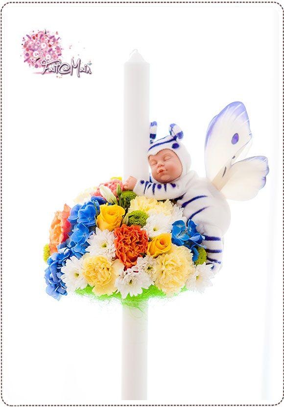 """Rainbow"" Anne Geddes toy christening candle www.facebook.com/faitamain www.simplyhappy.ro"