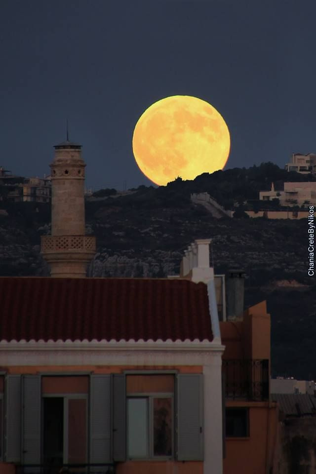 The August full moon, the most beautiful summer night in Chania!!  photo by: Chania Crete by Nikos