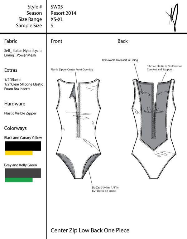 Swimwear Tech Pack by Madeline Benton, via Behance