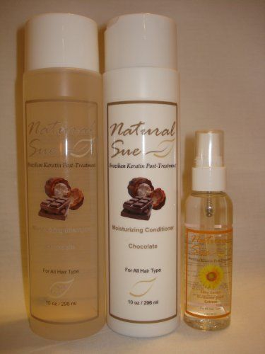 Natural Sue: Kit Brazilian Keratin Post-treatment - Salt-free Shampoo 10oz + Conditioner Chocolate 10oz + Silky Serum + FREE Travel Bag by Natural Sue. $27.00. Sunflower Seed Extract provides protection against heat and environmental damage.. Brazilian Keratin Post-Treatment. Salt Free Shampoo Chocolate. Perfect for colored hair too. Conditioner Chocolate. Shampoo: We do strongly recommend the regular use of our salt-free maintenance shampoo. Our salt-free maintenance shampo...