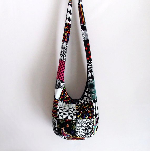 Image detail for -Patchwork Hobo Bag, Boho Bag, Sling Bag, Checkers, Paisley, Geometric ...