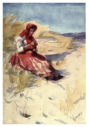 Portuguese woman knitting on the beach - illustration by S. Roope Dockery 1909