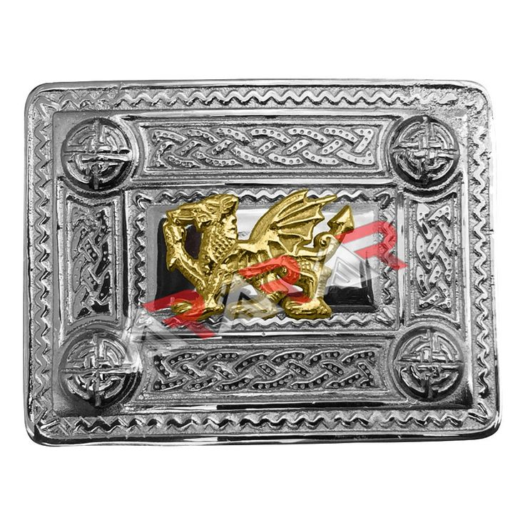 AAR Kilt Belt Buckle Celtic Design Chrome Finish with Welsh Dragon Badge Gold #AARProducts #Classic