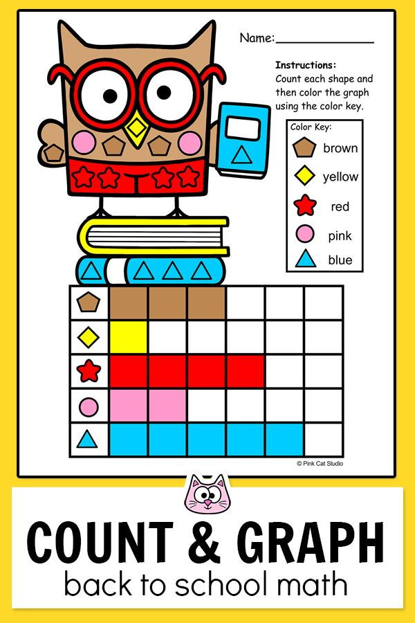 A Fun Count And Graph Back To School Activity Students Will Count Shapes And Record The Tot Back To School Activities School Activities Classroom Math Centers