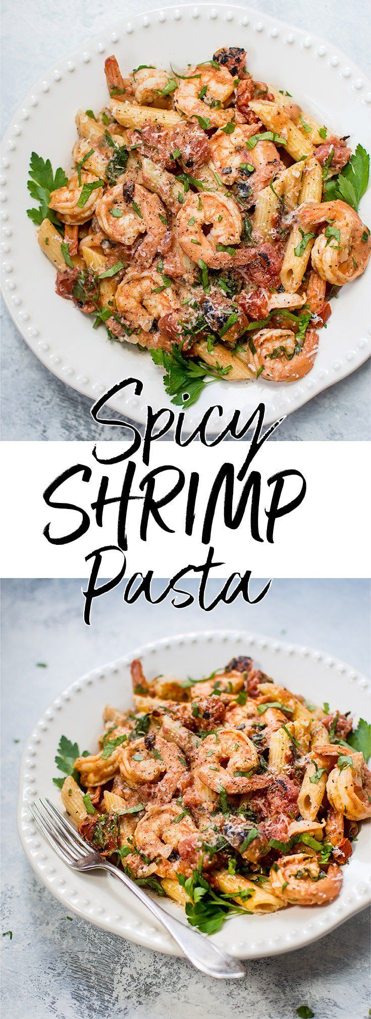 #ad This spicy shrimp pasta with a roasted tomato sauce is easy, fast, and very flavorful. Perfect for a gourmet weeknight dinner or for entertaining.#spicyshrimppasta