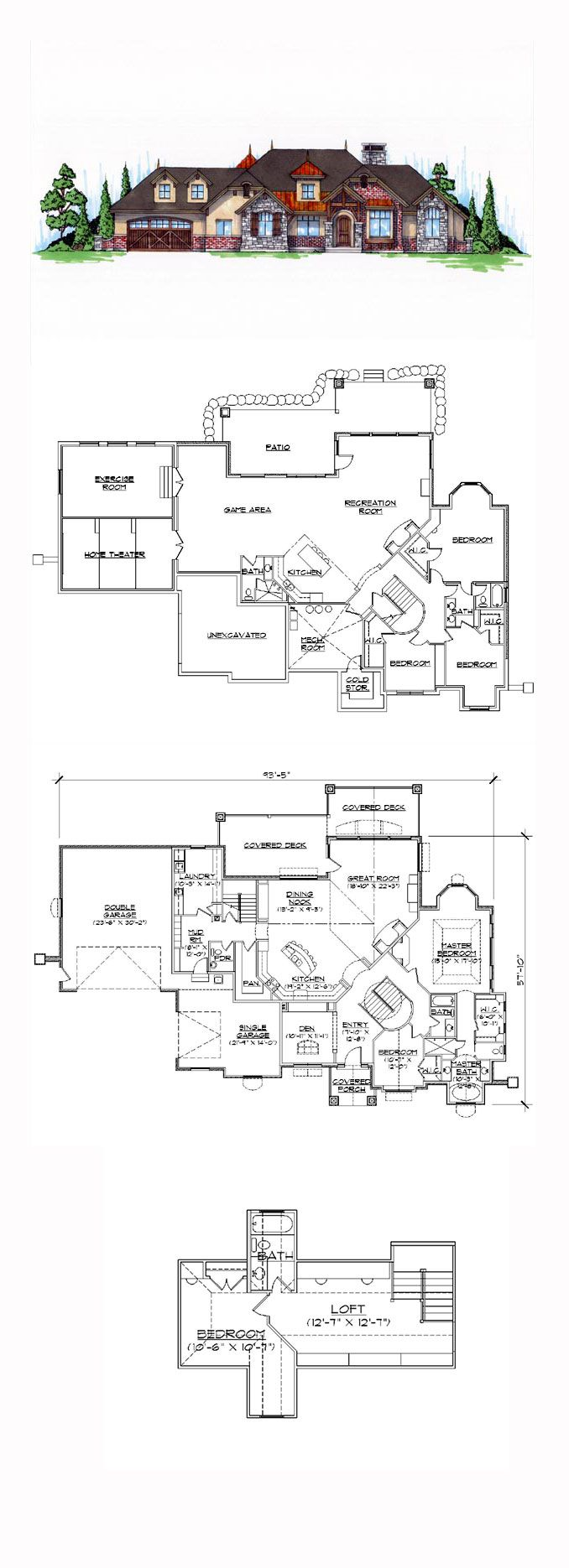 Finished Basement COOL House Plan ID: Chp 45087 | Total Living Area: 3288