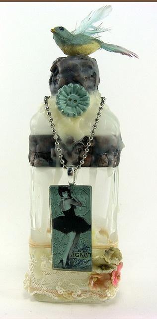 Paris Bird Bottle by Shabby Cottage Studio
