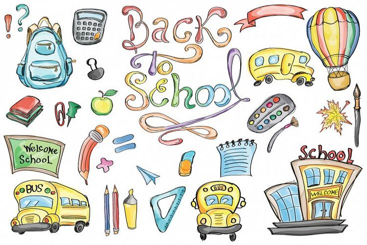 """Back to School Set Clipart & Vector Hand drawn """"back to school"""" clipart set perfect for Stationery Designers, DIY Invitations, Banners, Cards, Headers, Coupons, Backgrounds, Scrapbook and Webdesign. Your set includes: Includes brush, pencils, art supplies, colored pencils, rulers, backpack, apple, blackboard, schoolbuss, books, papers, and much more!"""