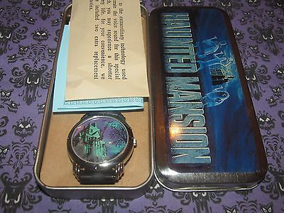 THE HAUNTED MANSION 25TH ANNIVERSARY TALKING WATCH IN TIN ETCH GHOSTS CRYSTAL