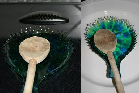 Melted bead spoon rest. She used an actual spoon rest as the mold.