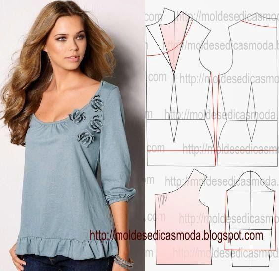 Materiales gráficos Gaby: Blusa corte y confección molde