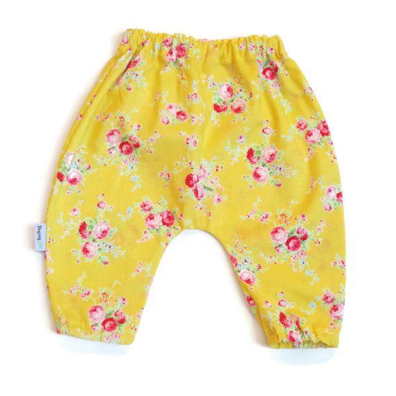 Yellow Floral Harem Pants , Baby Girls,