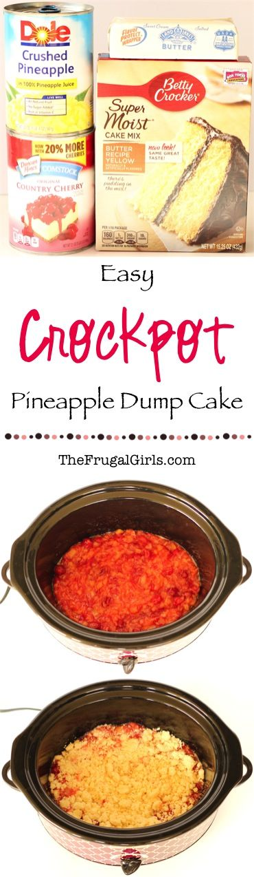 Crockpot Pineapple Dump Cake Recipe! ~ at TheFrugalGirls.com ~ this easy dessert is SO delicious... just dump it in the Slow Cooker and walk away!!