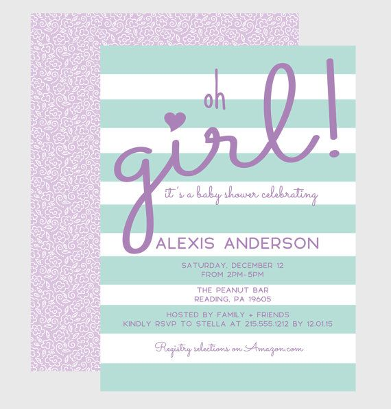 Mint & Lilac Stripe Baby Shower Invitation by PaperCleverParty