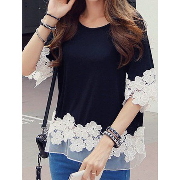 Stylish Scoop Neck 1/2 Sleeve Spliced Flower Pattern Women's T-Shirt, BLACK, ONE SIZE(FIT OUR SIZE) in Tees & T-Shirts | DressLily.com