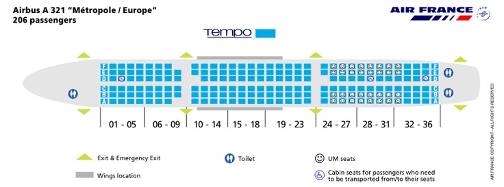 Air France Airlines Airbus A321 Aircraft Seating Chart