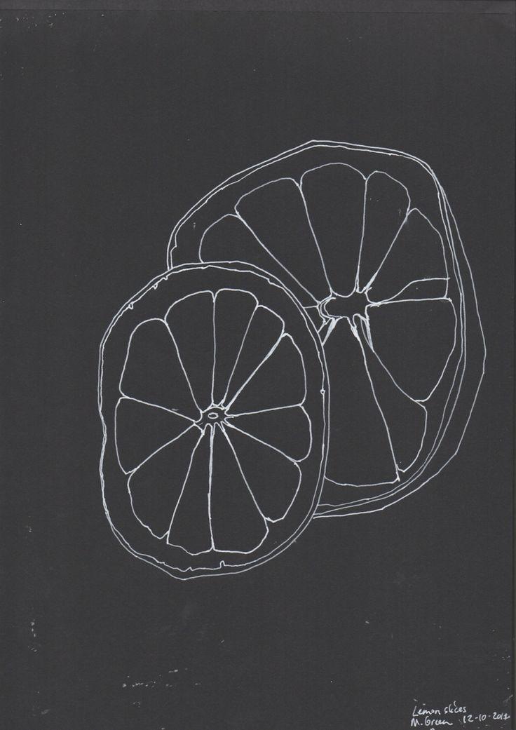 Lemon slices, line drawing, Marita Green