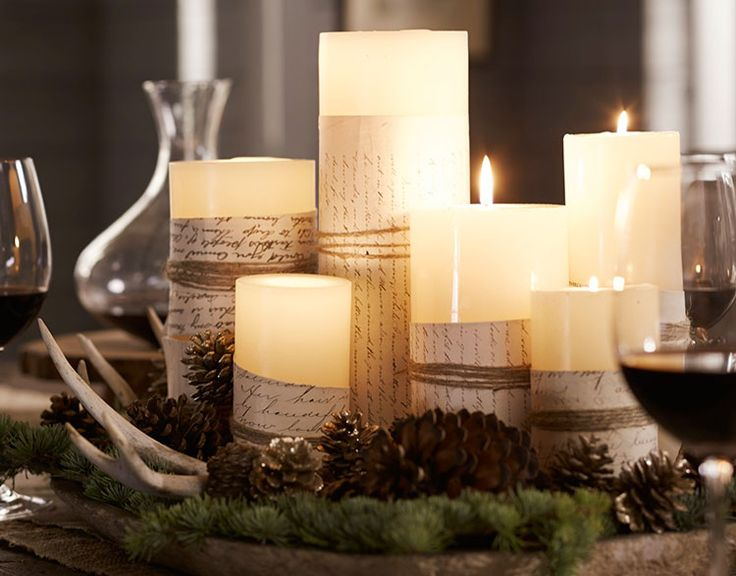 Wrap pieces of Christmas sheet music around candles and tie with ribbon