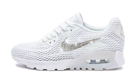 Womens Nike Air Max 90 Ultra White Custom Bling Crystal Swarovski Sneakers 431657b1918b
