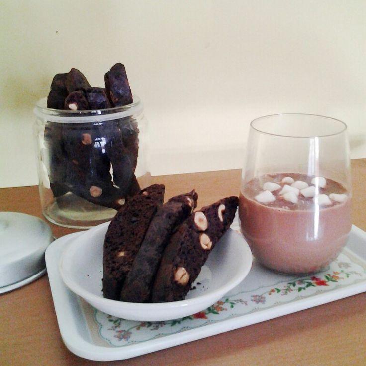 Chocolate Hazelnut Biscotti and Nutella Hot Chocolate.