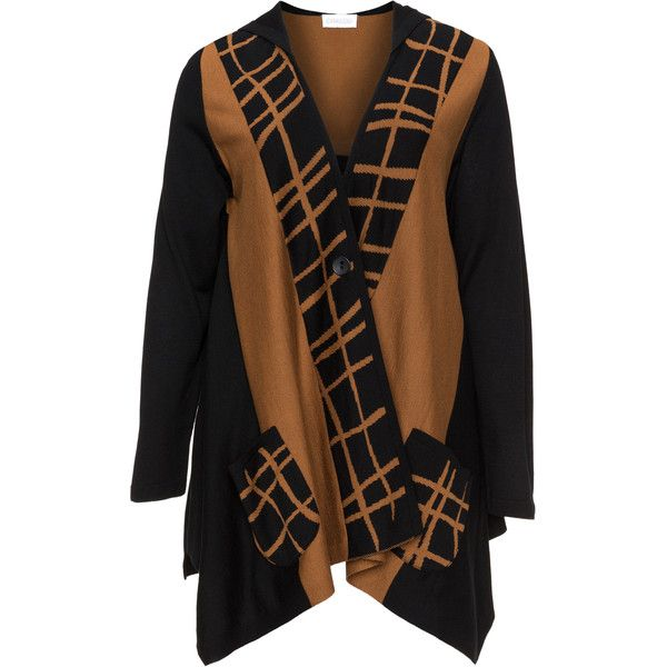 Chalou Black / Camel Plus Size Bicolour sweater ($125) ❤ liked on Polyvore featuring tops, sweaters, black, plus size, v neck sweater, womens plus tops, long sleeve tops, plus size v neck sweater and plus size long sleeve tops