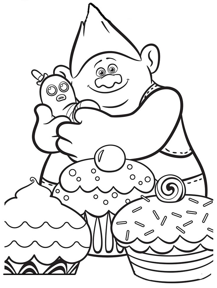 Trolls Movie Cupcakes Coloring Pages Printable And Book To Print For Free Find More Online Kids Adults Of