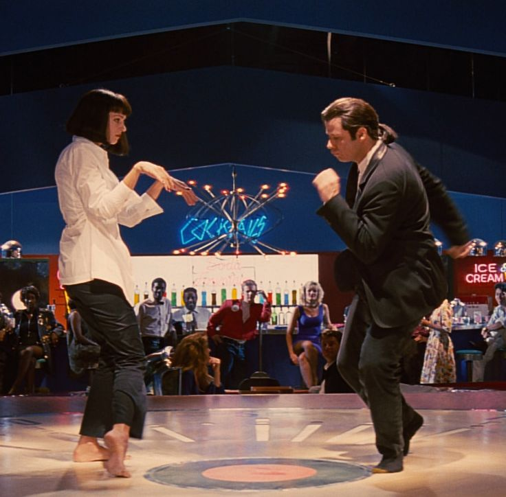 "Pulp Fiction Dance The ""famous dance scene"":[11] Vincent Vega (John Travolta) and Mia Wallace (Uma Thurman) do the twist at Jack Rabbit Slim's"