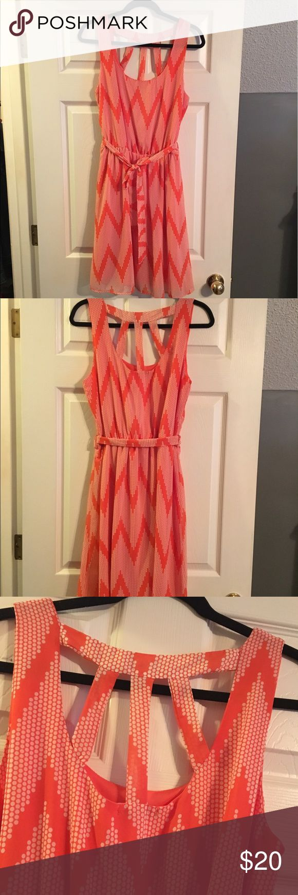 Orange Chevron Halo Dress Orange Chevron Halo Dress- lightly worn Size M adorable cut out back detail Halo Dresses
