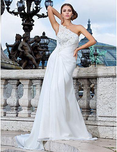 Vestido de Novia Columna Un Hombro @ Vestidos de Novia Blog