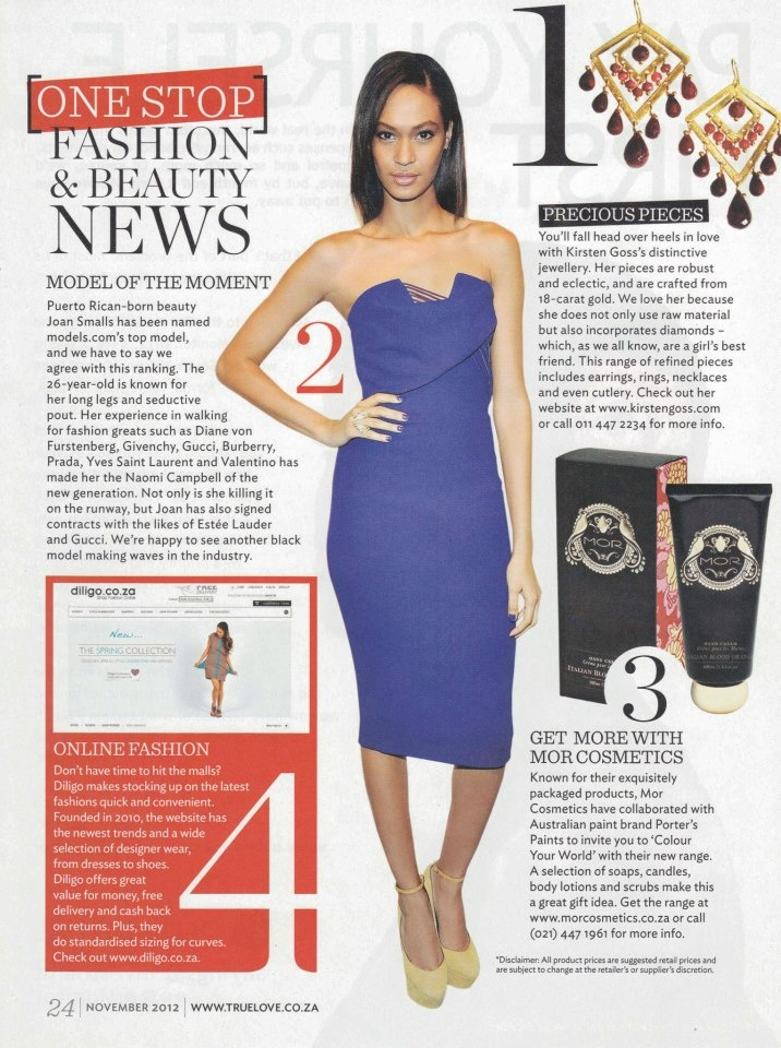 A little ♥ from True Love Mag. Diligo makes no 4 on the list of HOT new fashion and beauty finds in the November issue.