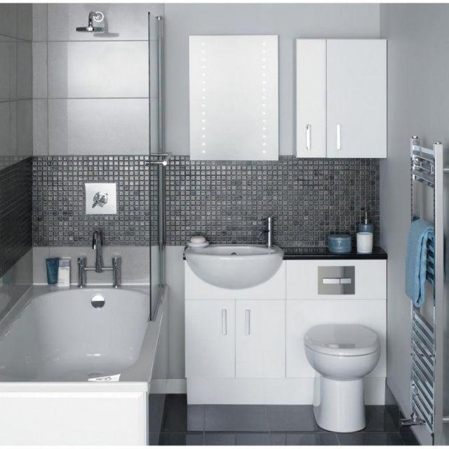 salle de bain en blanc et  mosaïque en couleur anthracite
