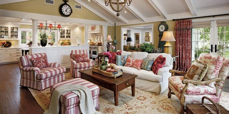 French country family room - red toile and stripes. Source: http://www.giffinandcrane.com/portfolio.html