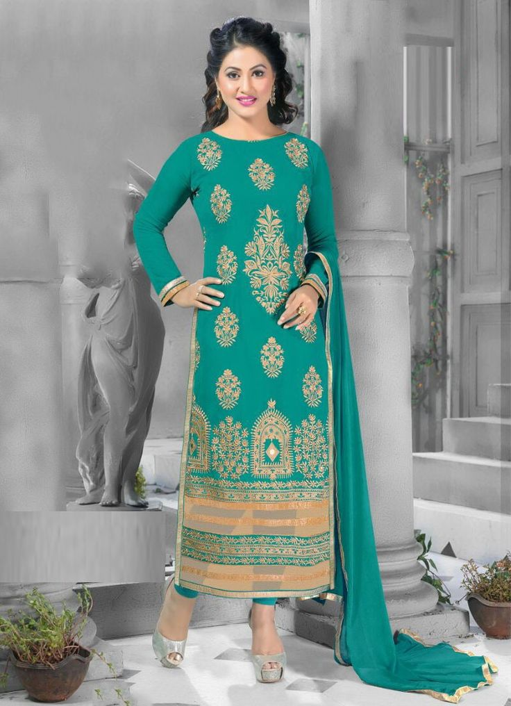 Hina Khan Faux Georgette Machine Work Green Semi Stitched Straight Suit - 1007