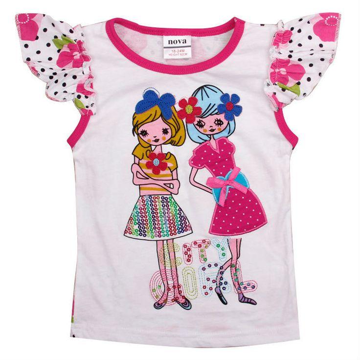 Девушки футболка мода 2016 новорожденных девочек хлопка майка прекрасный короткий рукав Футболки печать девушки цветы детская одежда для девушки