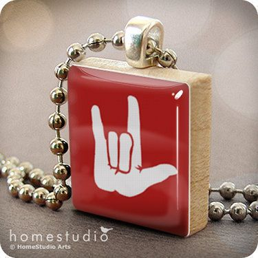 I Love You (RED) : pendant jewelry from a Scrabble tile. Necklace Chain sold separately. Home Studio jewelry gift present.