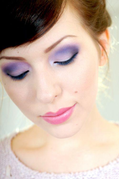 lavender eye makeup: Makeup Tutorials, Eye Makeup, Eyeshadows Tutorials, Eye Shadows, Pink Lips,  Lips Rouge, Lips Colors, Lavender Eye, Prom Makeup