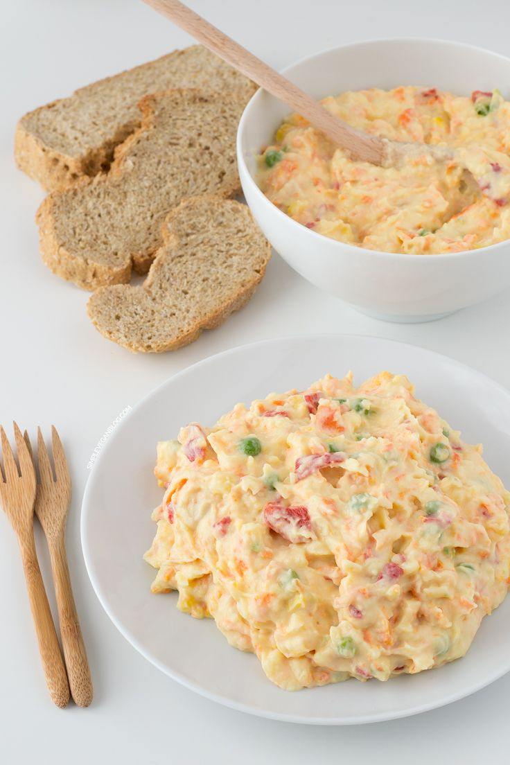 Vegan Oliver Salad.Although Olivier Salad is a traditional Russian dish, you can find it at many restaurants here in Spain. This recipe is healthier and cholesterol-free. [potatoes, carrots, peas, corn, Piquillo peppers + Vegan mayonnaise with recipe]