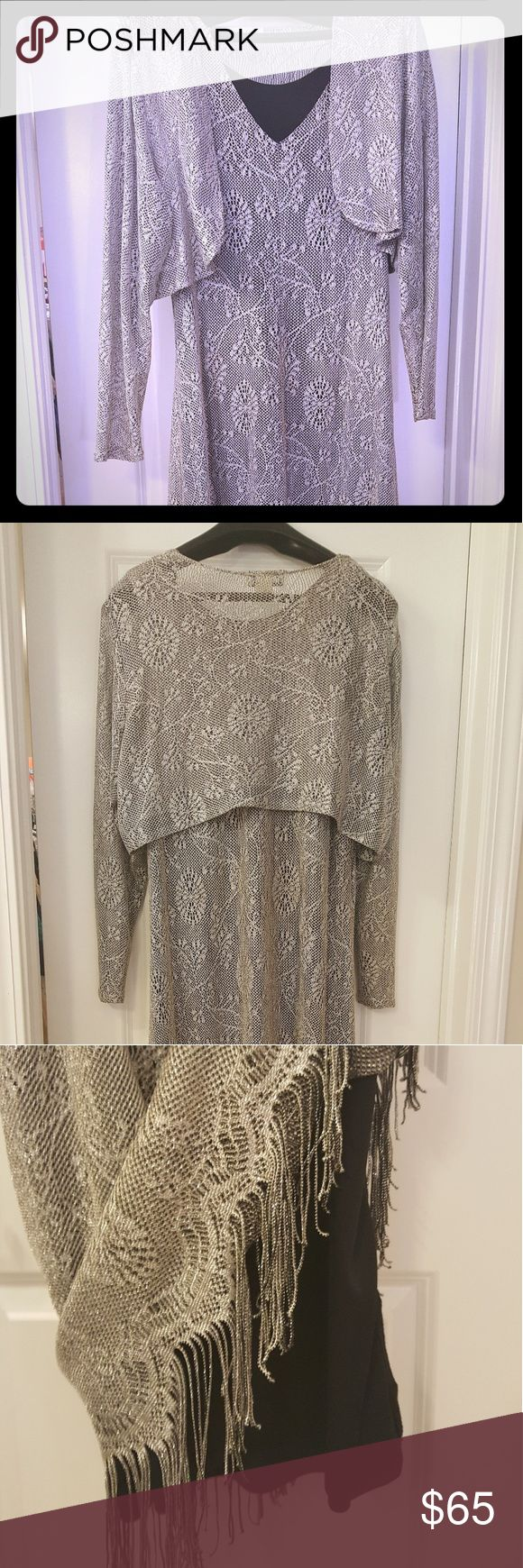 Harlow nites, Ventage Silver Two Piece EveningGown Harlow nites- Ventage Silver embroidered, two piece evening gown. Great Condition! Fully lined. Matching Crop jacket. Fringes on the bottom. Harlow nites Dresses Maxi