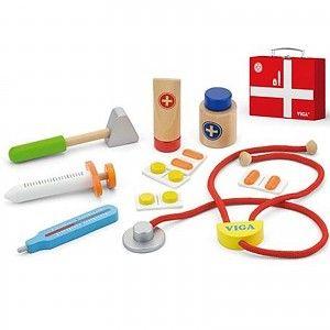 Arztkoffer Doktorkoffer für Kinder mit Inhalt aus Holz Puppendoktor 11 teilig - TikTakToo
