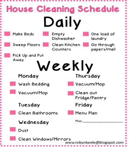 The 25+ best Daily cleaning schedules ideas on Pinterest