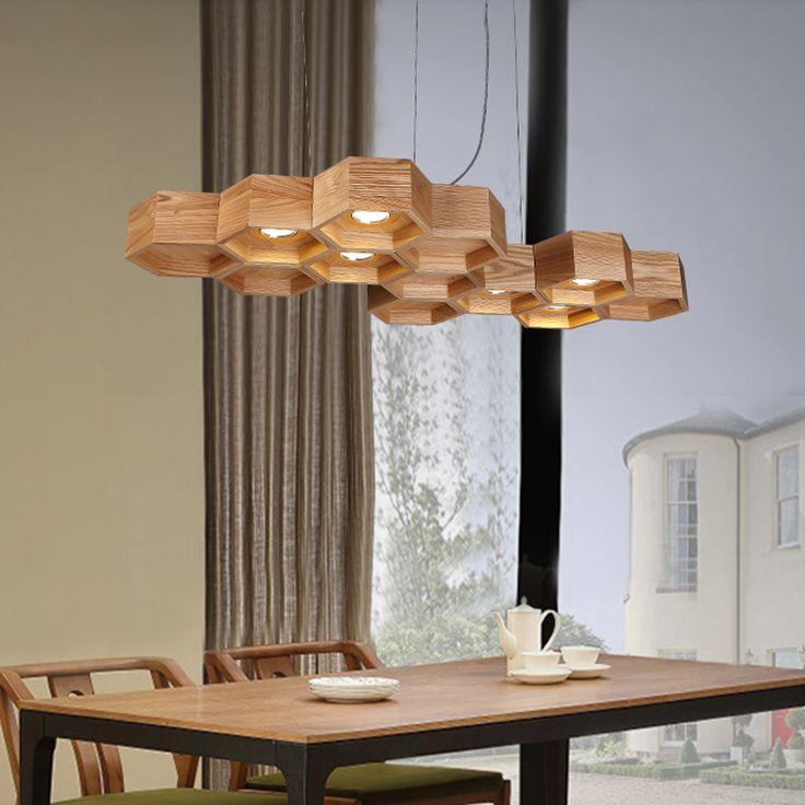 Goedkope Gepersonaliseerde honingraat led hanglampen woonkamer eetkamer massief hout hanger lampen amerikaanse rustieke lampen, koop Kwaliteit hanglampen rechtstreeks van Leveranciers van China: