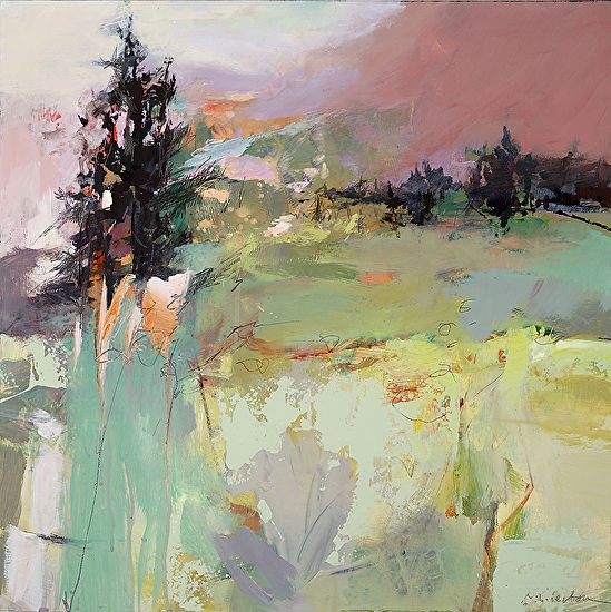 Just a Breeze/ Abstract Landscape by Joan Fullerton Acrylic ~ 24 x 24