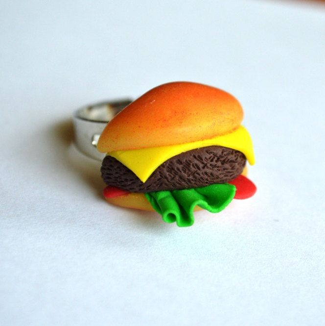 Burger polymer clay ring by ASweetScaleWorld on Etsy