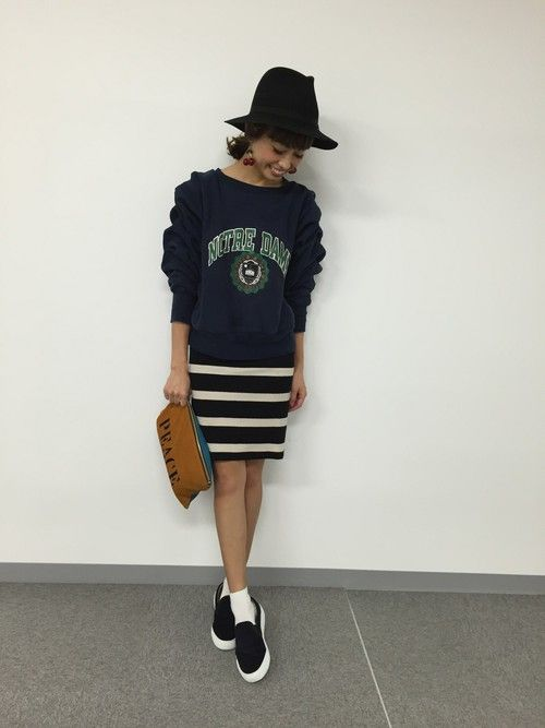 fevのリメイクスウェットが可愛い♪   #striped #spring #outfits #style #skirts